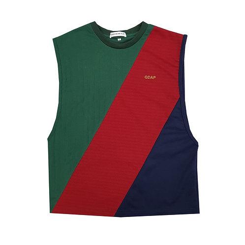 GREEN RED NAVY PANELLED TANK / เสื้อแขนกุด ตัดต่อ สีเขียว สีแดง สีกรมท่า
