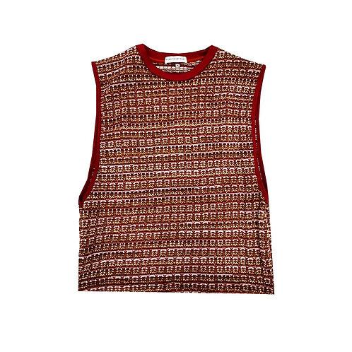 RED, PINK KNITTED TANK / เสื้อยืดแขนกุดผ้าทอสีแดง, สีชมพู