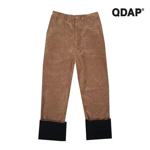 BROWN CORRUGATED PANTS กางเกงขายาว ผ้าลูกฟูก สีน้ำตาล ตัดต่อขา