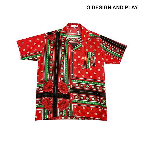 RED BOMBAY SHIRT / เสื้อเชิ้ตแขนสั้นลายบอมเบย์สีแดง