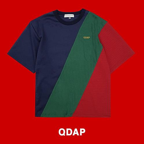 NAVY GREEN RED PANELLED TEE / เสื้อยืด ตัดต่อ สีกรมท่า สีเขียว สีแดง