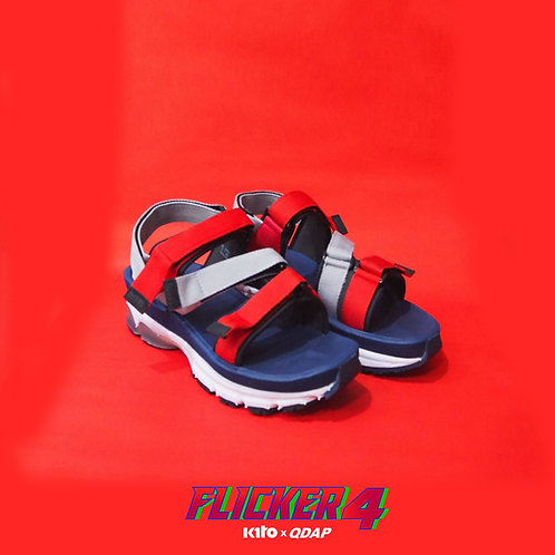 รองเท้า QDAP X KITO รุ่น Flicker Four สีกรมท่า แดง เทา
