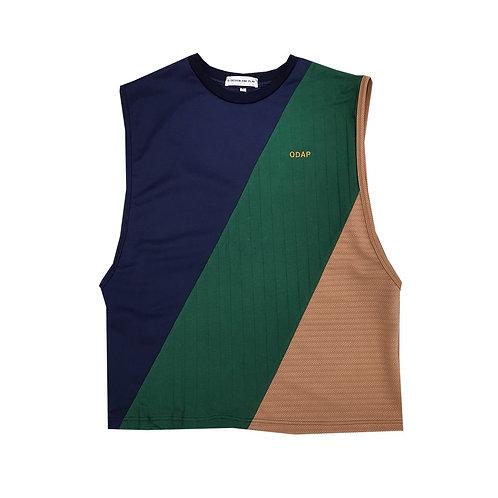 NAVY GREEN BEIGE PANELLED TANK / เสื้อแขนกุด ตัดต่อ สีกรมท่า สีเขียว สีครีม