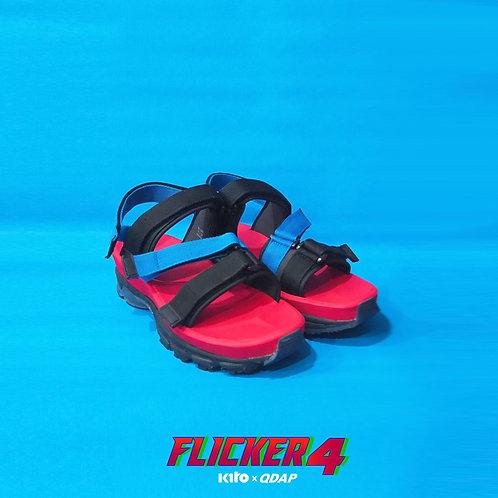 รองเท้า QDAP X KITO รุ่น Flicker Four สีแดง ดำ น้ำเงิน