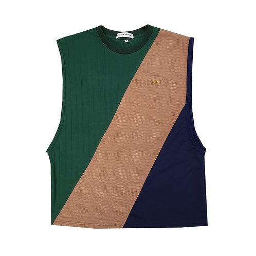 GREEN BEIGE NAVY PANELLED TANK / เสื้อแขนกุด ตัดต่อ สีเขียว สีครีม สีกรมท่า