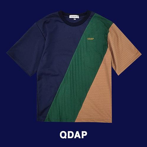 NAVY GREEN BEIGE PANELLED TEE / เสื้อยืด ตัดต่อ สีกรมท่า สีเขียว สีครีม