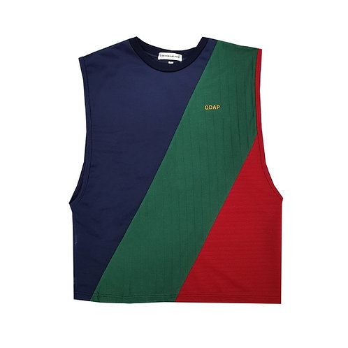 NAVY GREEN RED PANELLED TANK / เสื้อแขนกุด ตัดต่อ สีกรมท่า สีเขียว สีแดง