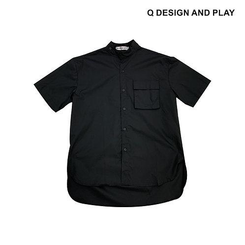 BLACK MANDARIN SHORT SLEEVE SHIRT / เสื้อเชิ้ตแขนสั้นคอจีนสีดำ