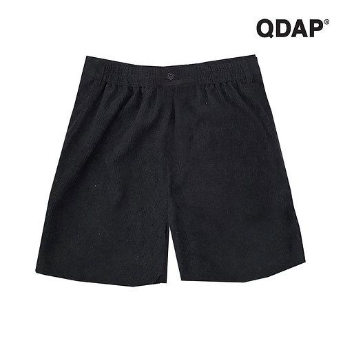 BLACK CORRUGATED SHORTS กางเกงขาสั้น ผ้าลูกฟูก สีดำ ตัดต่อ กระเป๋า