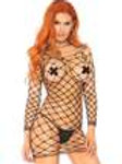 Crochet Net Long Sleeve Mini Dress - One Size