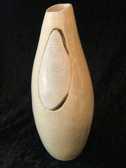 VESSEL TALL WARM WITH CRACKLE