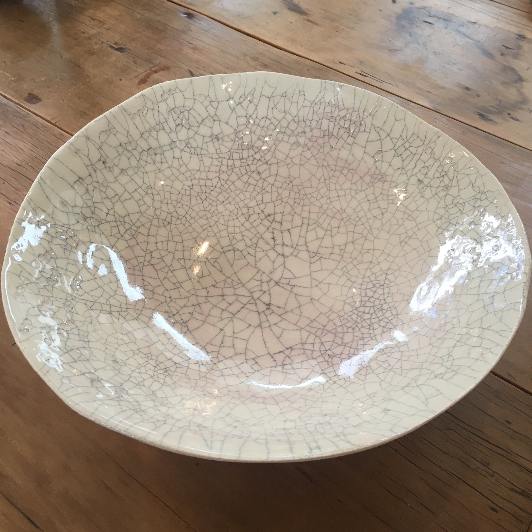 GLOSS CRACKLE BOWL WITH PINK