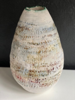 LARGE VESSEL WITH TEXTURED OXIDES AND GLAZE'