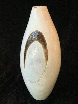 TALL VESSSEL WITH LUSTRE AND CRACKLE