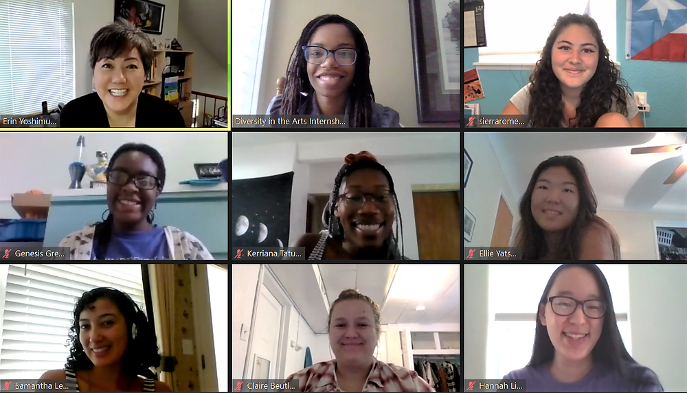 Screenshot of the 2020 interns, program administrator, and advisory board member (Erin Yoshimura) smiling at their cameras. The workshop is being hosted on a Zoom call.