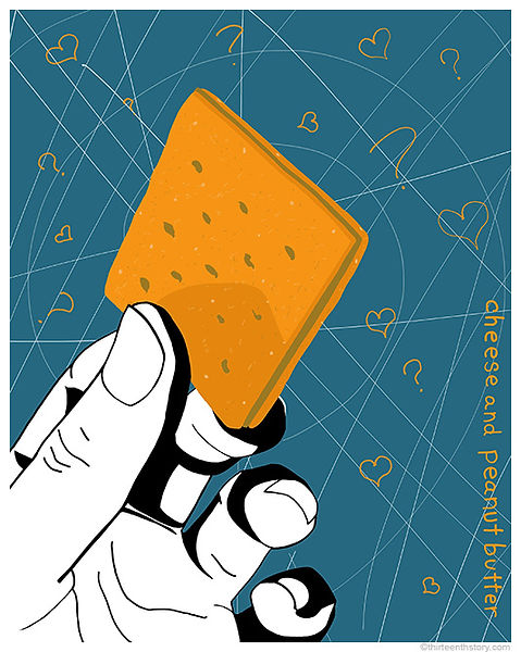 cheese, peanut butter, cracker, delicious, combination, yellow, blue, range, drawing, thirteenthstory