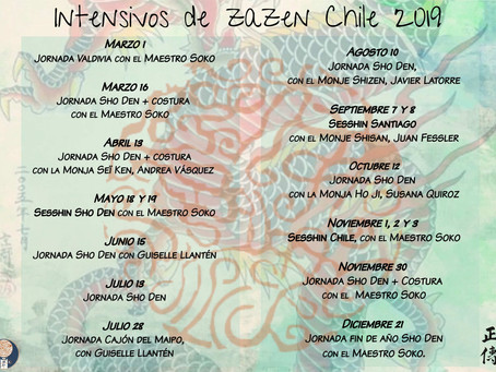 Calendario de intensivos de zazen Chile 2019