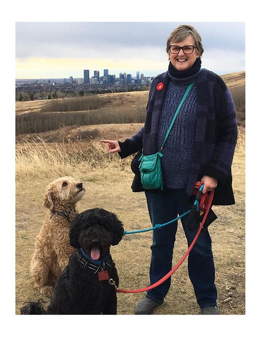 Marilyn on Nose Hill with Finn and Alice