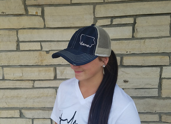 Home Hat Navy/Khaki Silver Thread