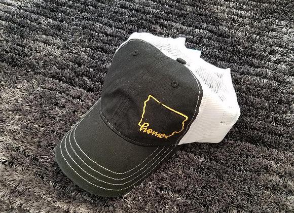 Home Hat Black/White Yellow Thread