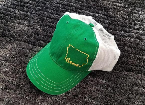 Home Hat Green/White Yellow Thread
