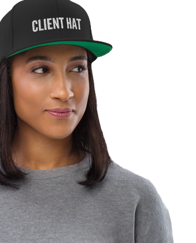 Client Hat snapback baseball hat from Another Sellout, selling merch for marketing and advertising agency professionals