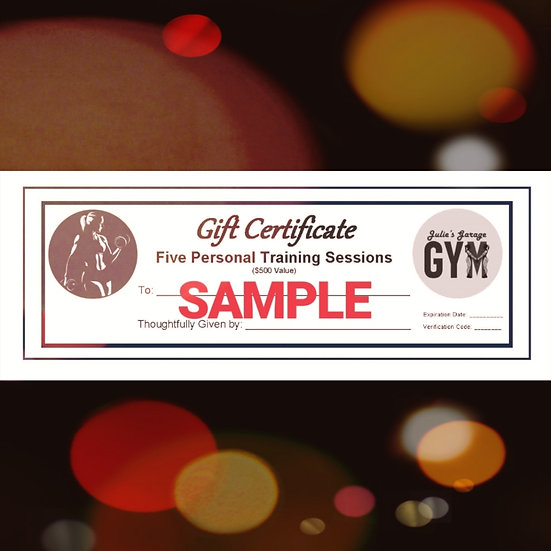 Gift Certificate - Five Personal Training Sessions