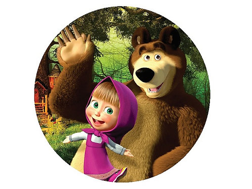 Painel Redondo Masha e o Urso
