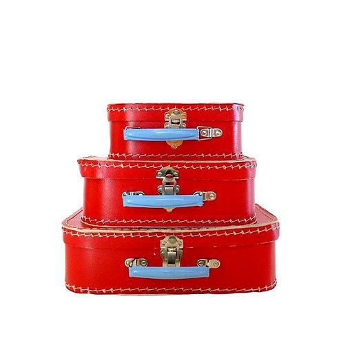 Trio de Maletinhas Vermelho e Azul