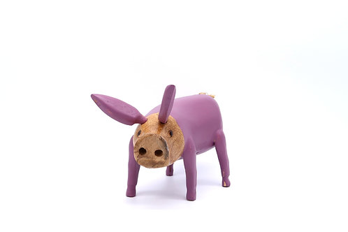 Purple Fairtrade BambooWooden Pig
