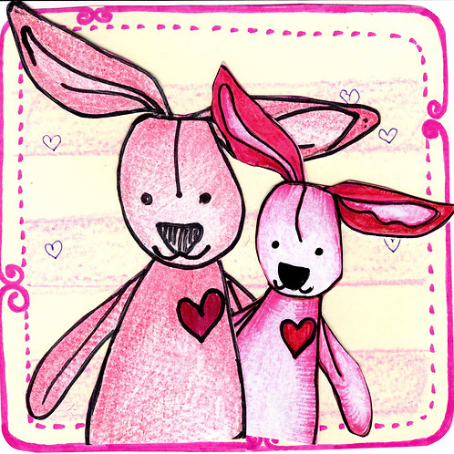Mummy and Baby Bunny Card