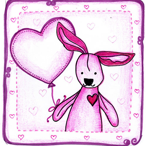 Pink Bunny with Heart Card