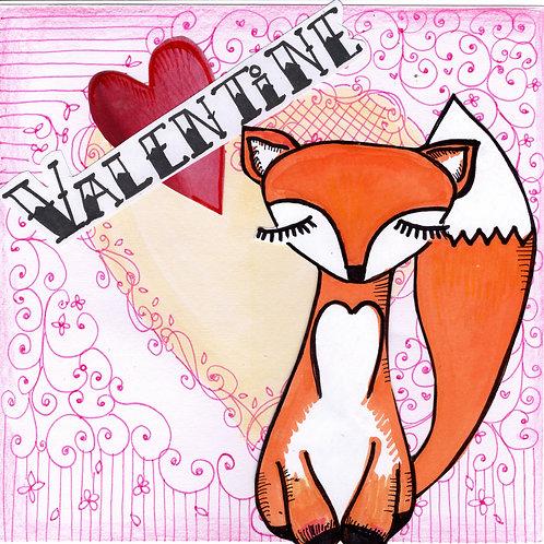Brown Fox Valentine's Card