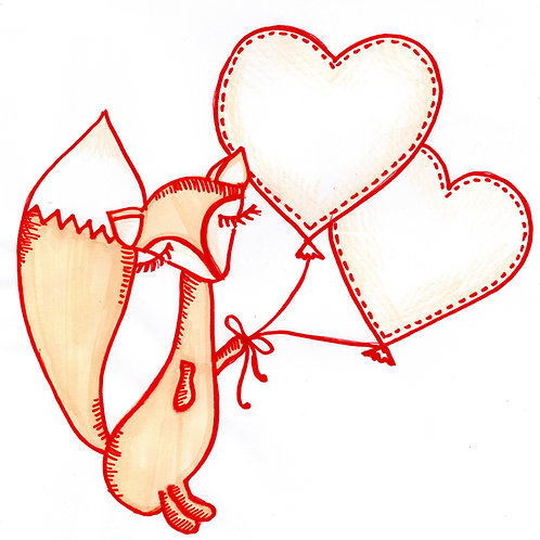 Fox with Two Hearts Card