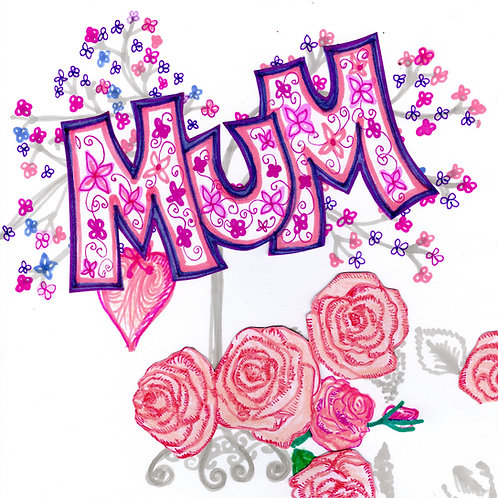 Mum with Pink Roses Card