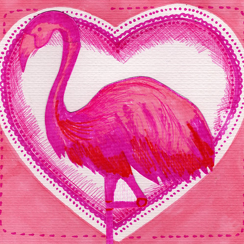 Flamingo in Pink Heart Card