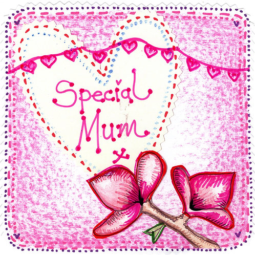 Special Mum with Pink Flower Card