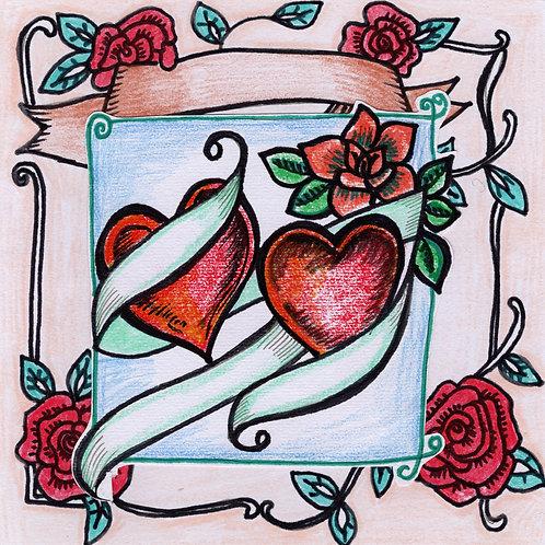Tattoo Hearts Card