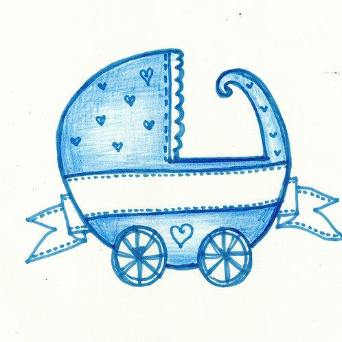 Blue Pram Baby Card