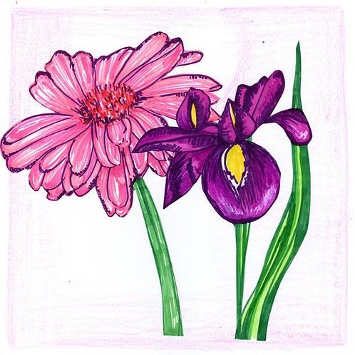 Pink and Purple Flower Card