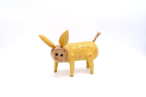 Yellow Fairtrade Bamboo Wooden Pig