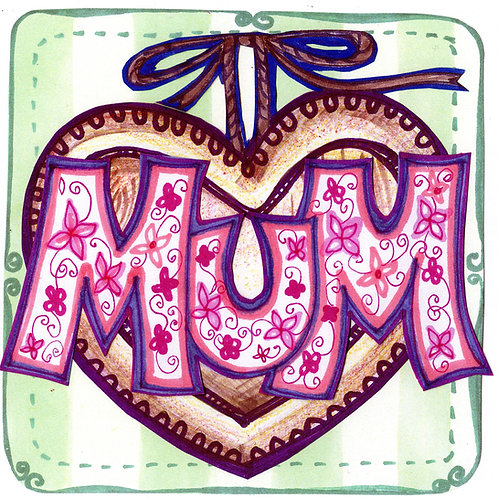 Mum with Brown Heart Card