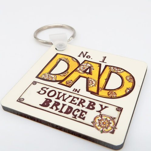 No 1 Dad in Sowerby Bridge Keyring