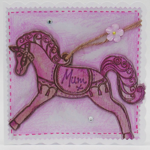 Pink Horse Mum Card