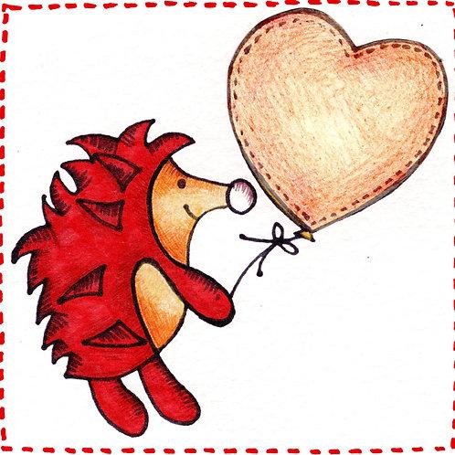 Orange  Hedgehog with Heart