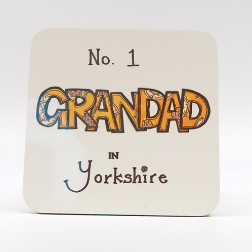 No 1 Grandad in Yorkshire Coaster