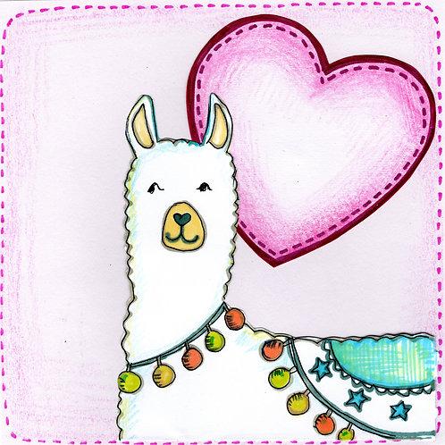Llama with Heart Card