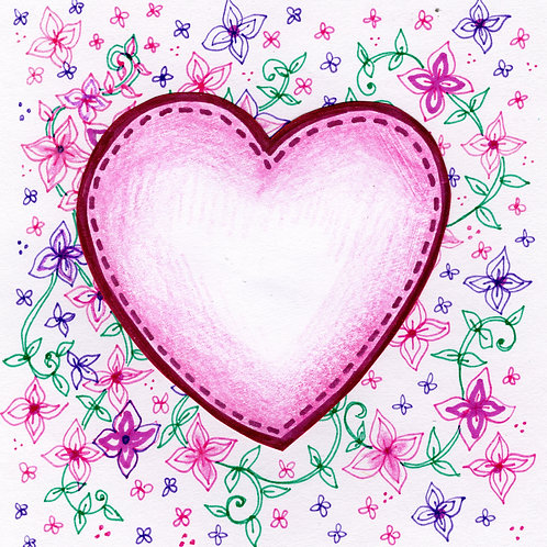 Pink Heart with Floral Card