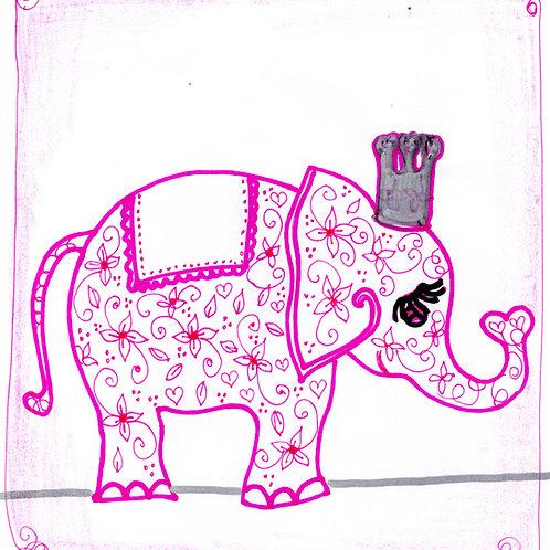 Pink Elephant Floral Design Card