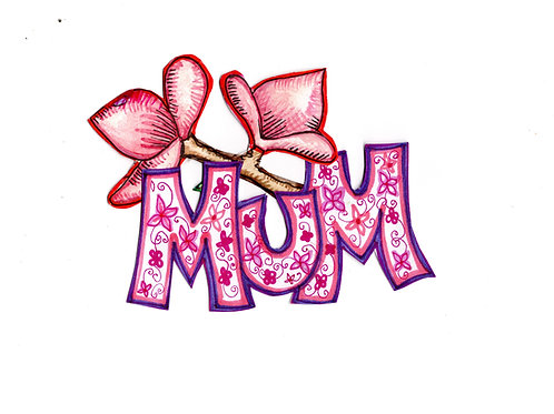 Floral Mum with Pink Flower Card